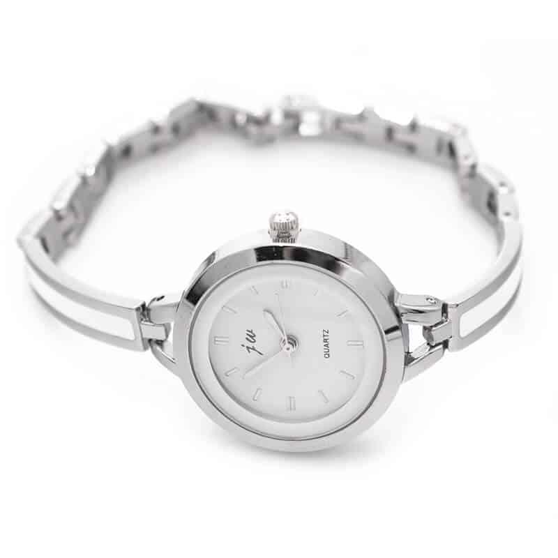 srebrna modna ura za ženske quartz