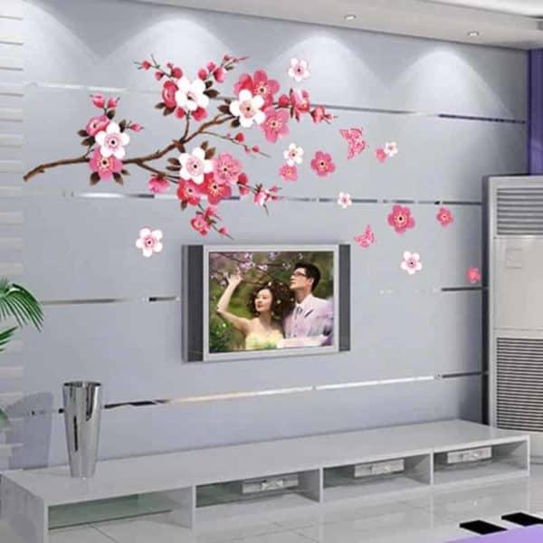 Nalepka za steno v dnevni sobi drevo s cvetovi