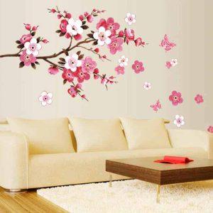Stenske nalepke drevo s cvetovi