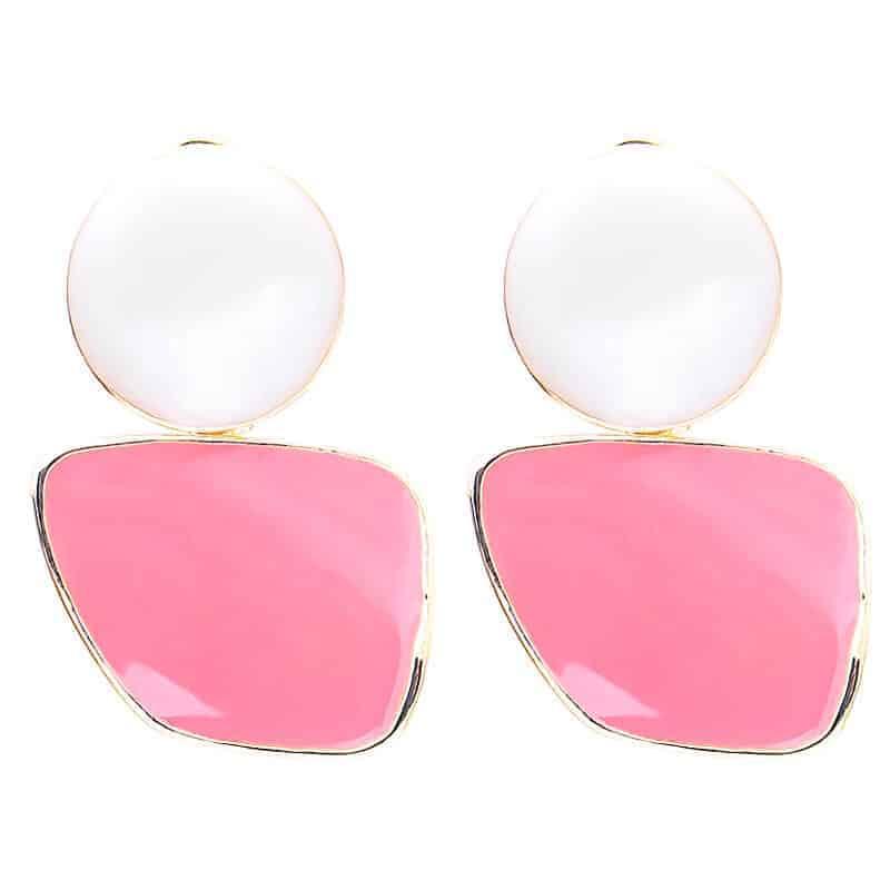 modni uhani za ženske belo roza barve