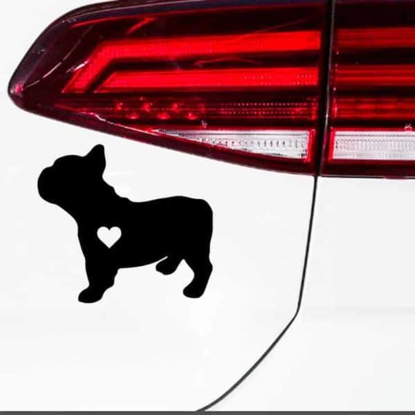 nalepka za avto francoski buldog črne barve s srcem