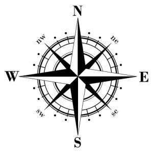 nalepka za avto kompas črna