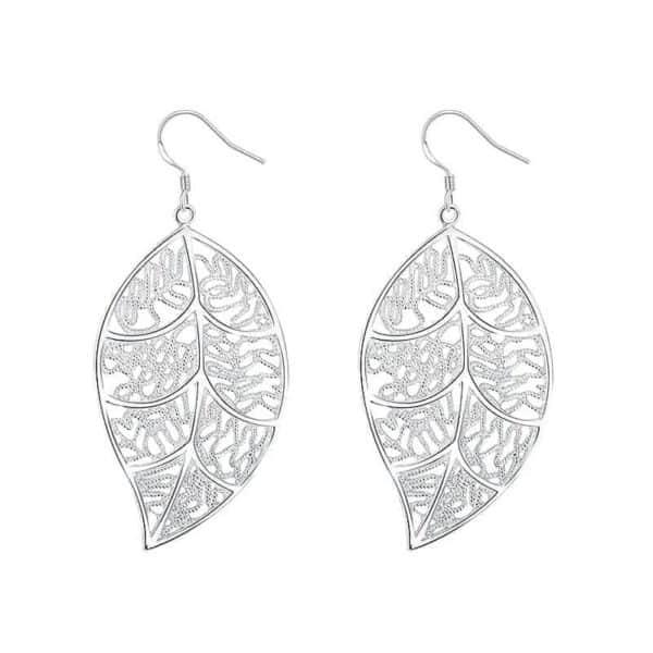 srebrni uhani listje