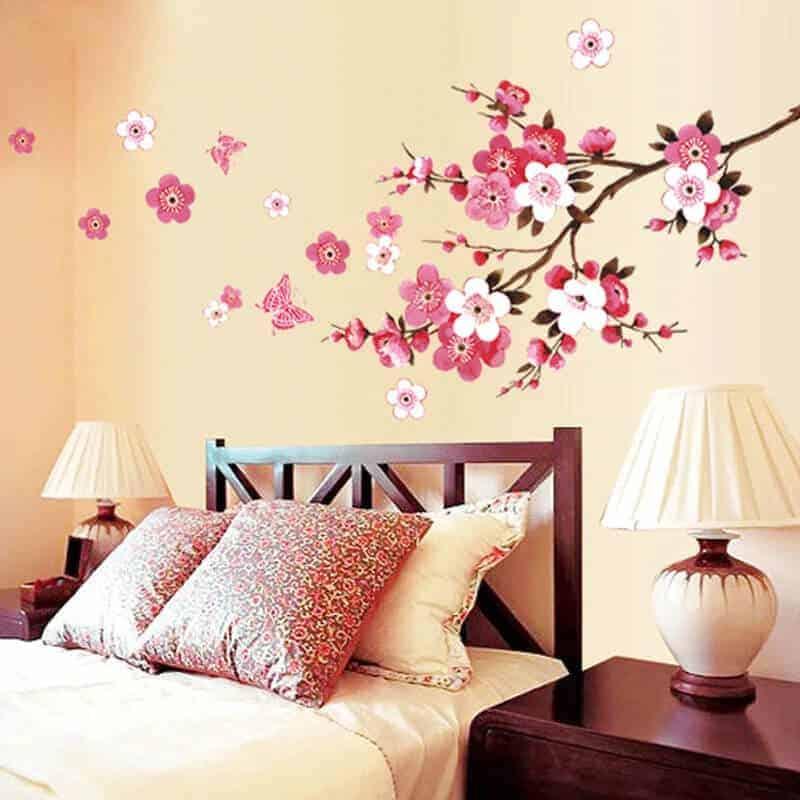 stenske nalepke drevo s cveti barvne