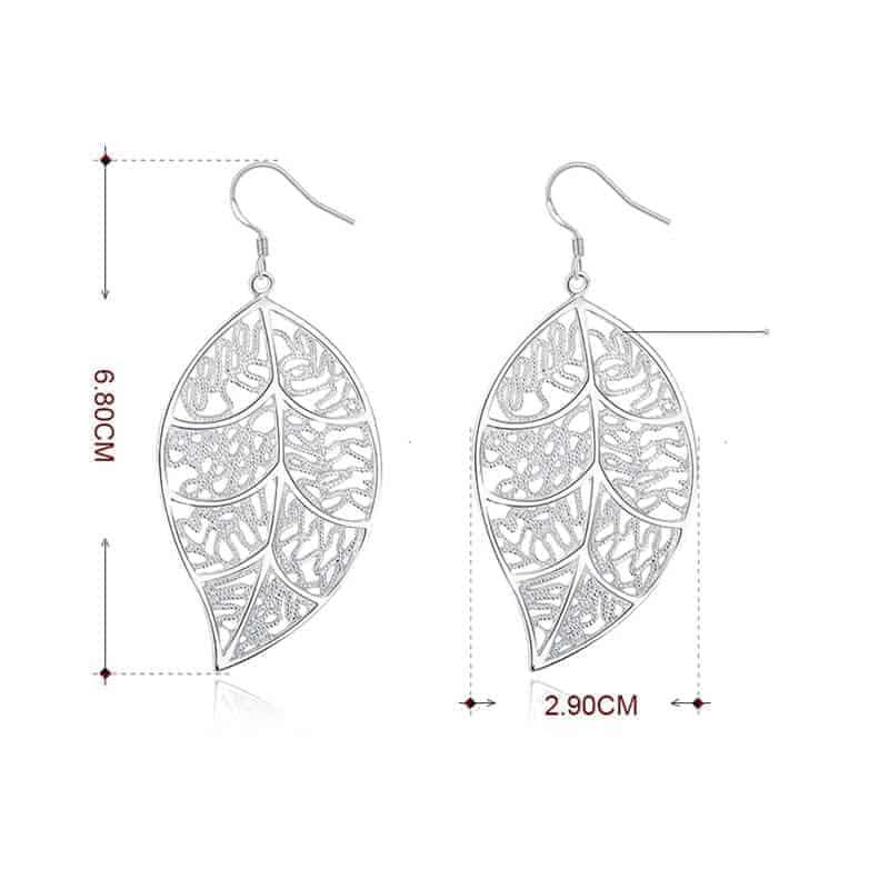 uhani listje srebrne barve