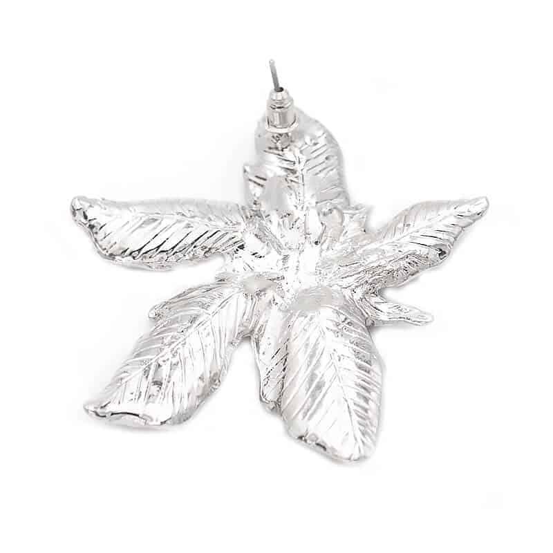 uhani za ženske srebrni listje