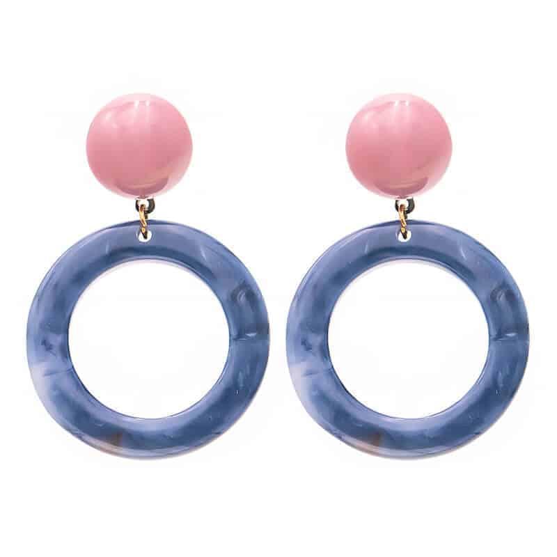 viseči uhani modni za ženske modri