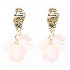 viseči zlati uhani s cveti