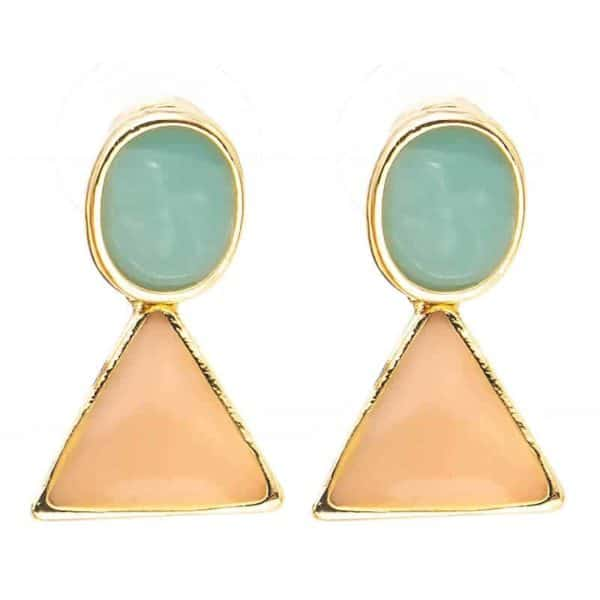 viseči zlati uhani trikotnik