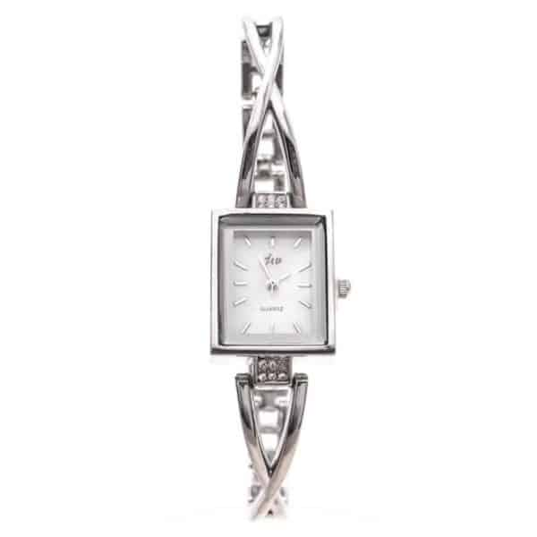 ženska ura srebrne barve pravokotna