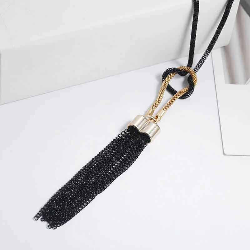 ženska verižica zlato črna modna