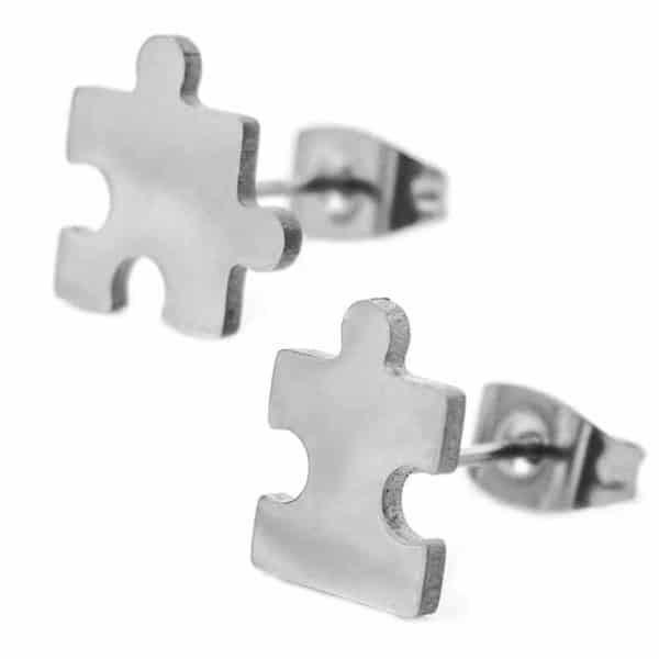 Ženski uhani puzzle srebrne barve