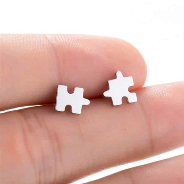 srebrni uhani puzzle