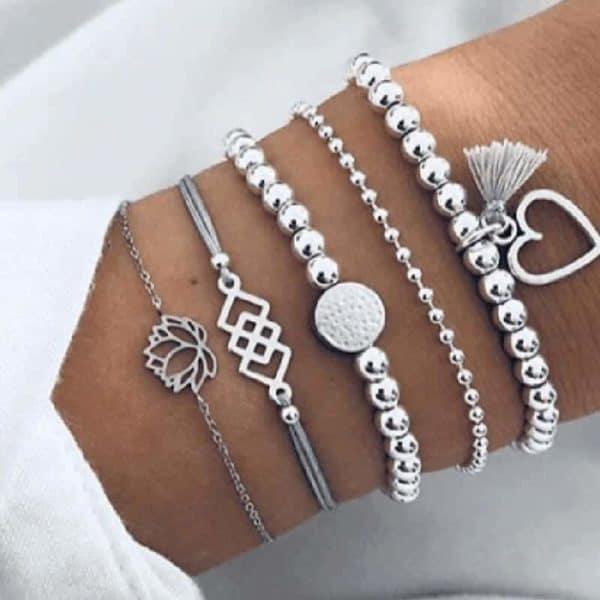 5 delni set zapestnic srebrne barve