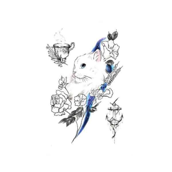 Barvni začasni tattoo muca in cvetovi
