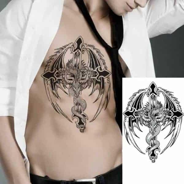 Tattoo križ z zmajem