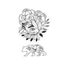 Tattoo začasni ženska cvetovi in medved