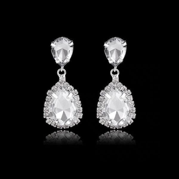 Uhani za poroko srebrne barve s kristali in diamanti