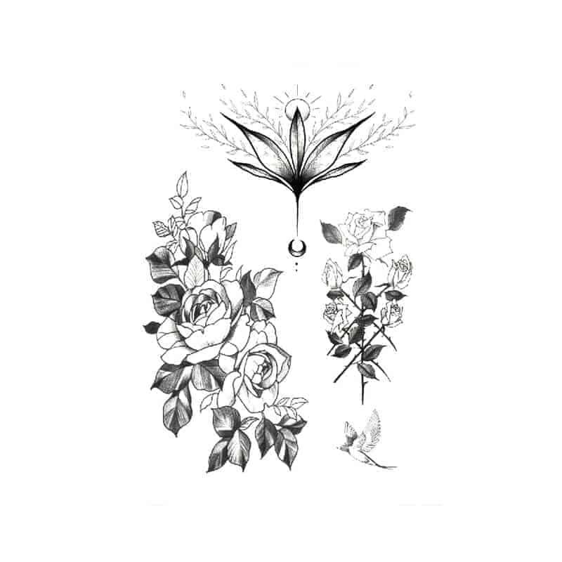 Začasna tetovaža vrtnice in lastovka