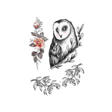 Začasni Tattoo sova z vrtnico in vejicama