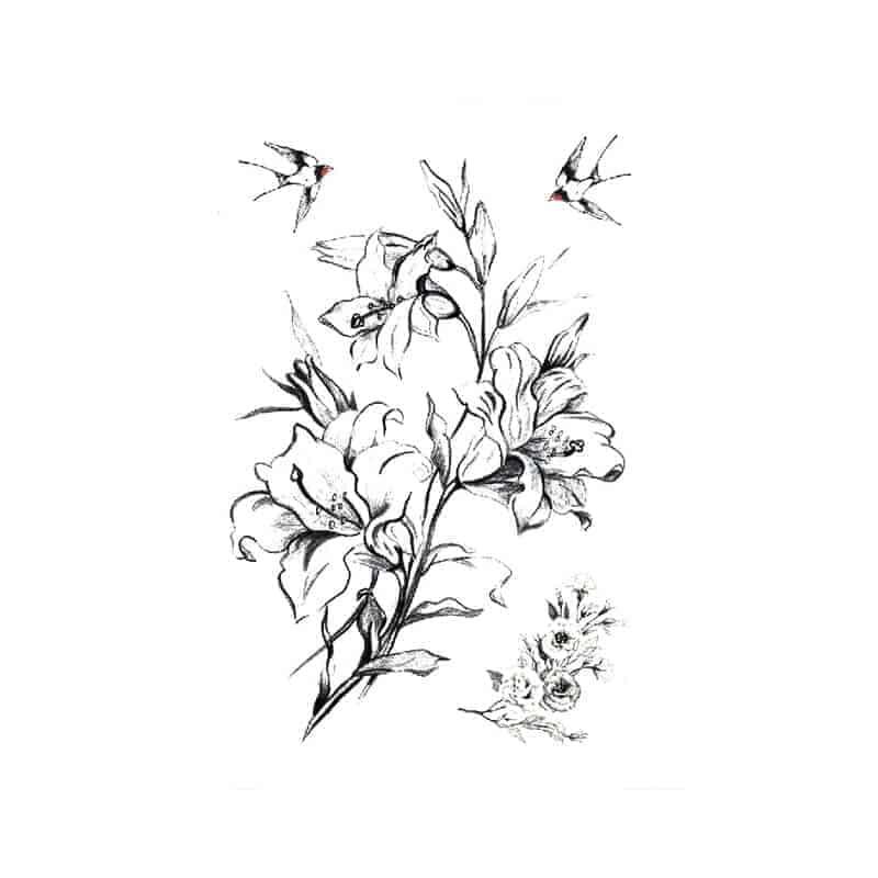 Začasni tattoo lastovke in cvetovi