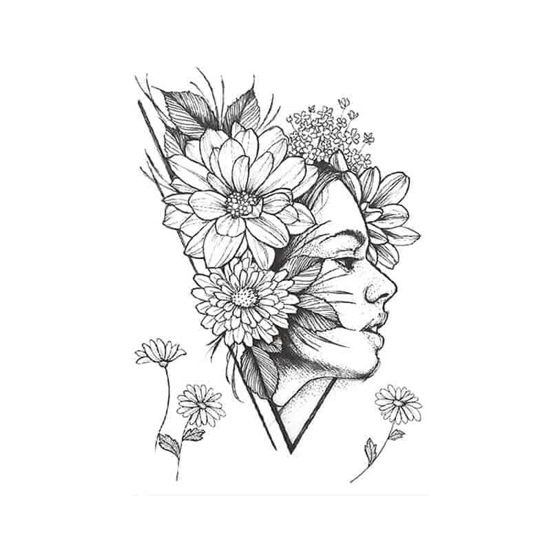 Začasni tattoo obraz s cvetovi