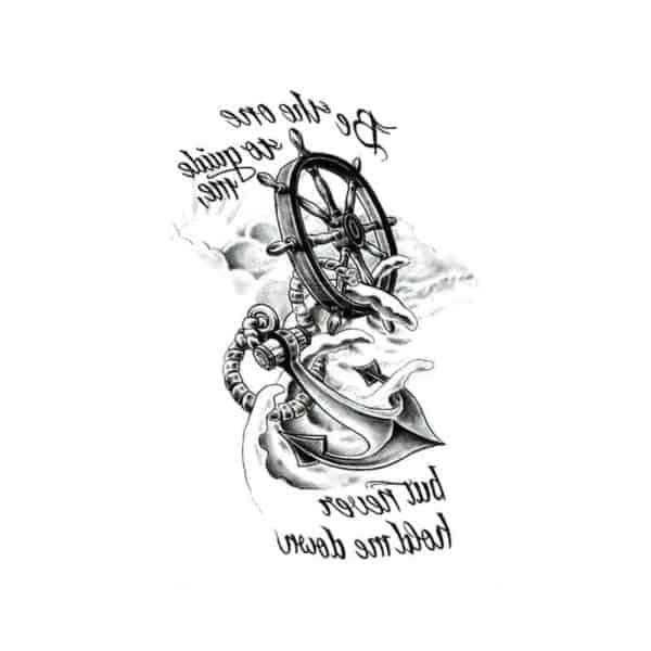 Začasni tattoo sidro z ladijskim krmilom