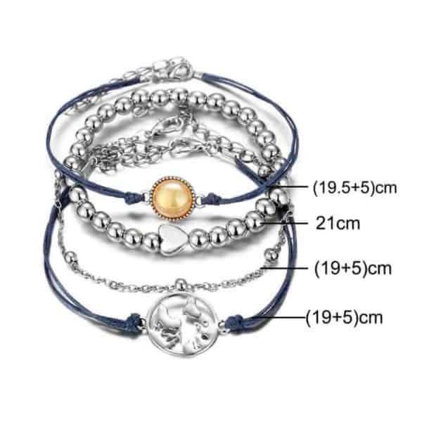 komplet zapestnic srebrne barve za ženske