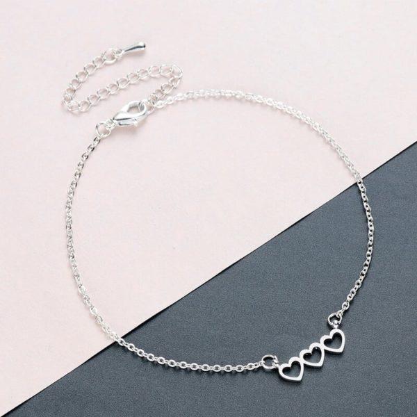 modna zapestnica s srci srebrna