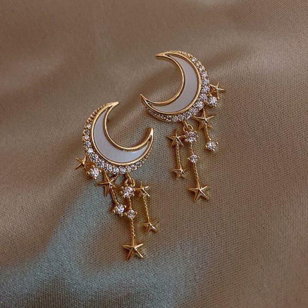 modni uhani viseči mesec