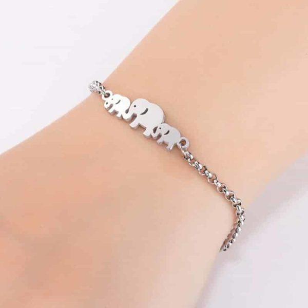 srebrna zapestnica slončki
