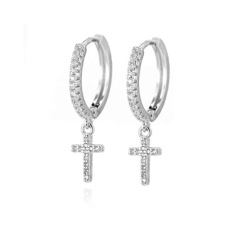 srebrni uhani križ