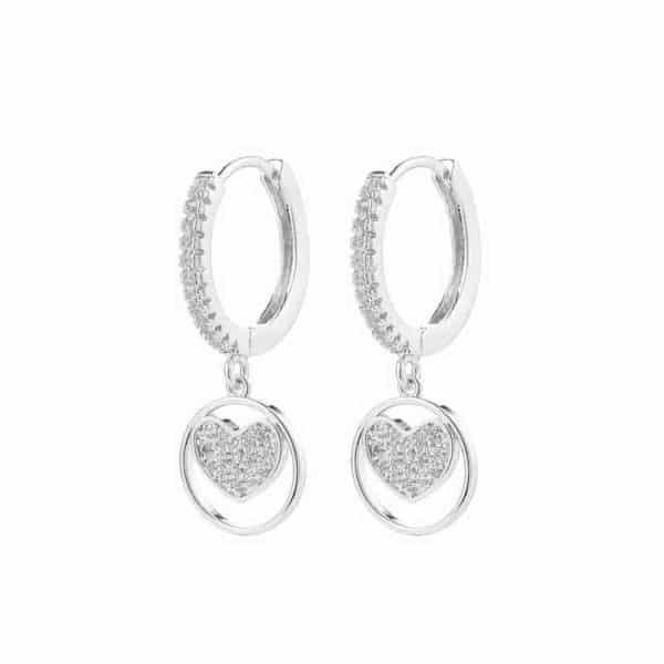 srebrni uhani modni za ženske srce