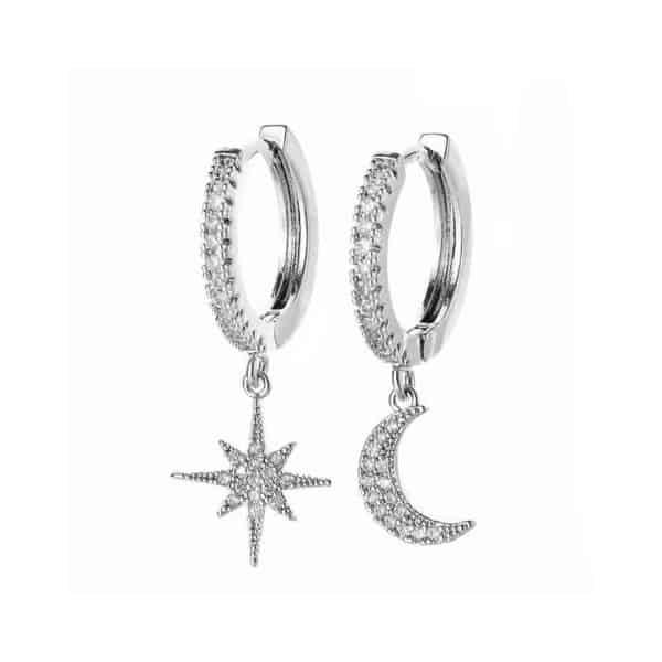 srebrni uhani za ženske mesec in zvezda