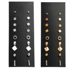 uhani komplet 9 parov zlati in srebrni