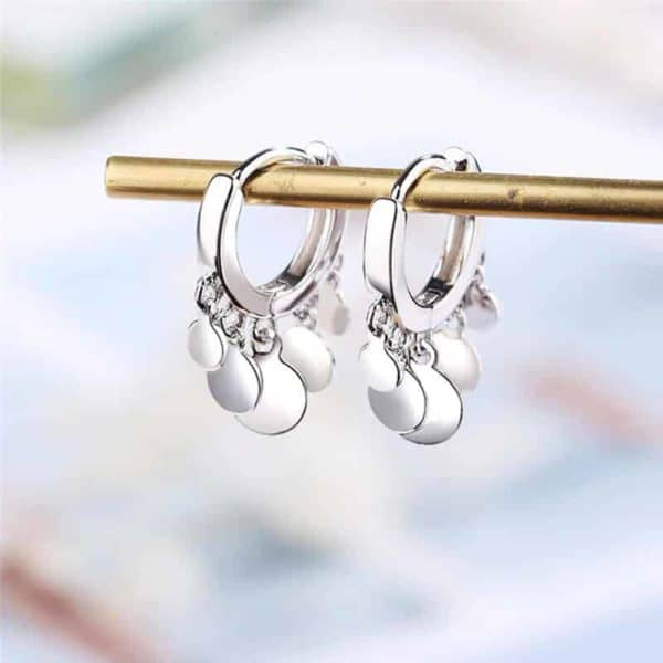 uhani krogi srebrne barve
