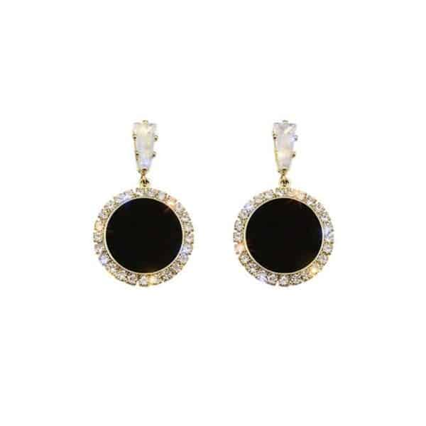 viseči uhani z diamanti črno zlati