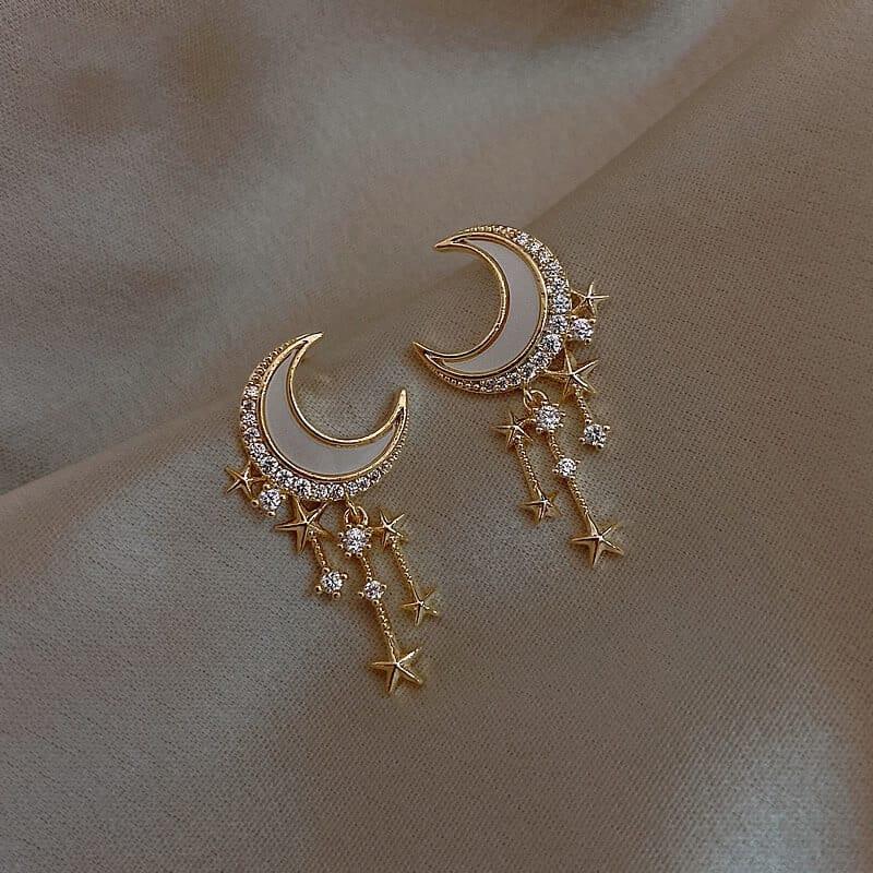 viseči uhani z diamanti mesec