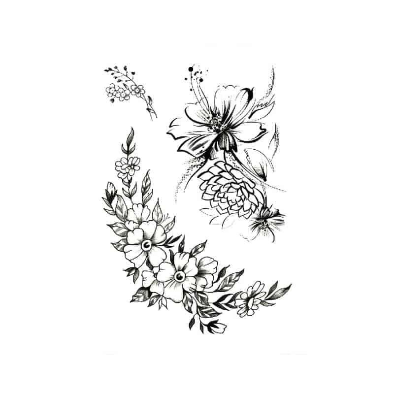 začasne tetovaže s prekrasnimi cvetovi