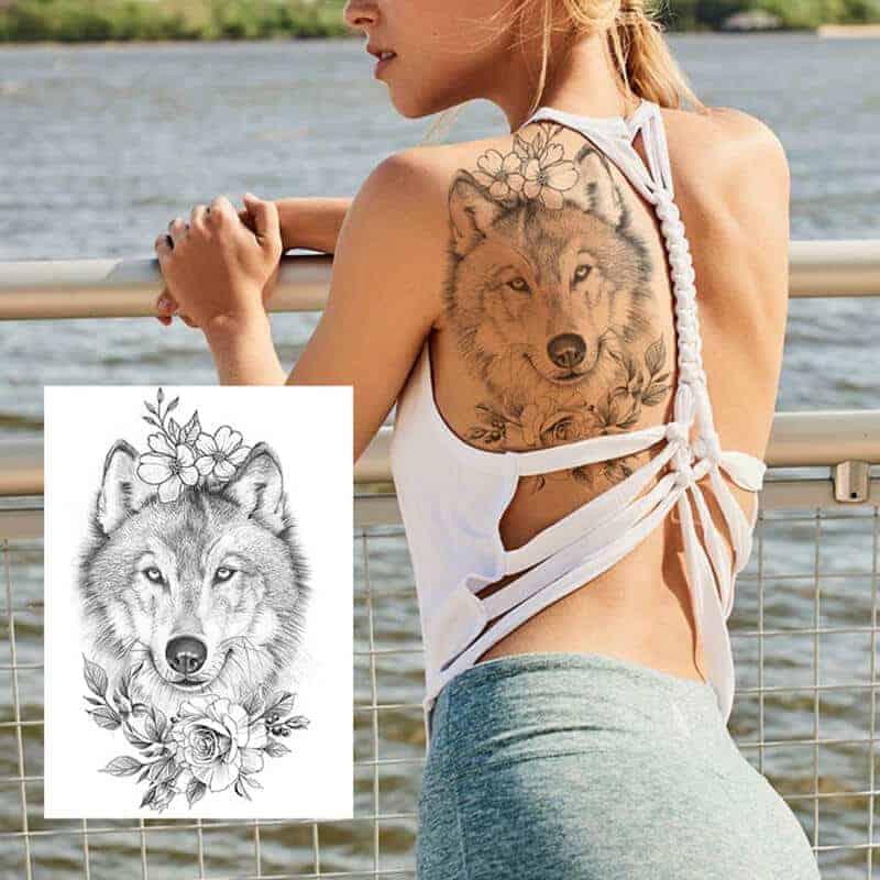 začasni tattoo volk z vrtnico