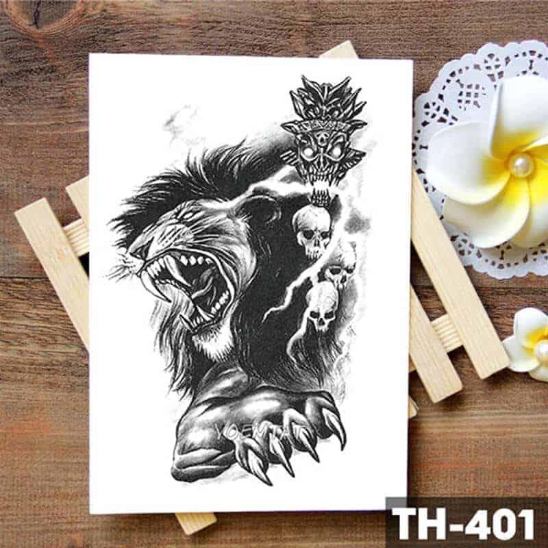 Lev začasni tattoo nalepka