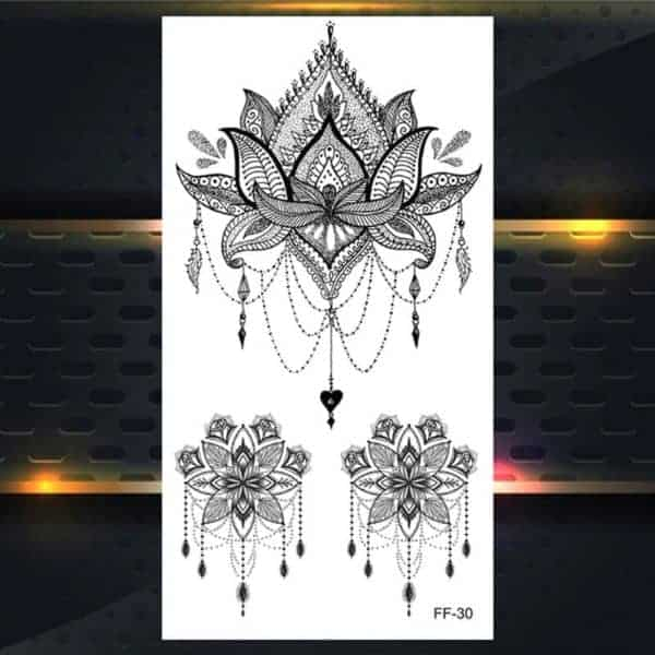 Set 3 tattojev geometrijske rože