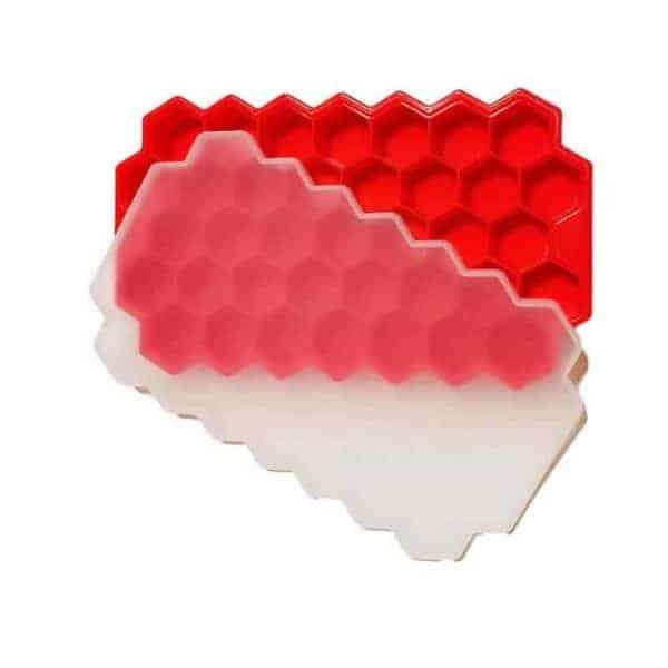 Silikonska posodica za led z pokrovčkom rdeča barva