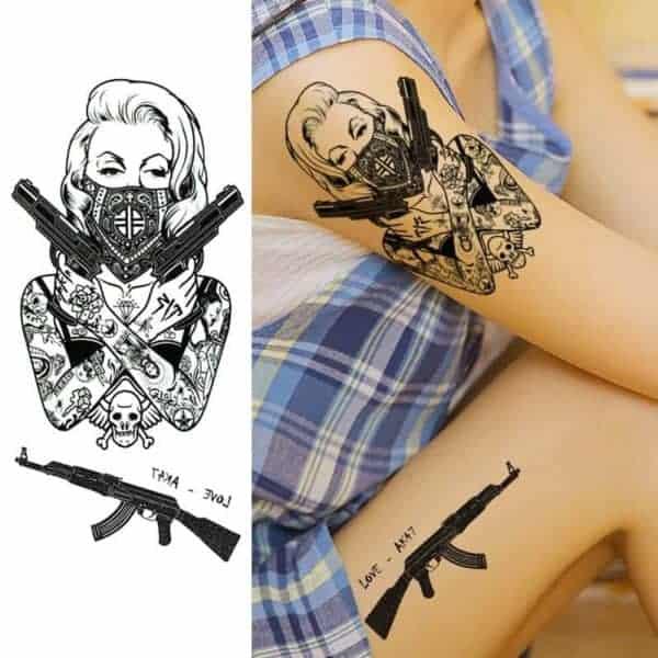 Tattoo začasni Bojevnica ak47