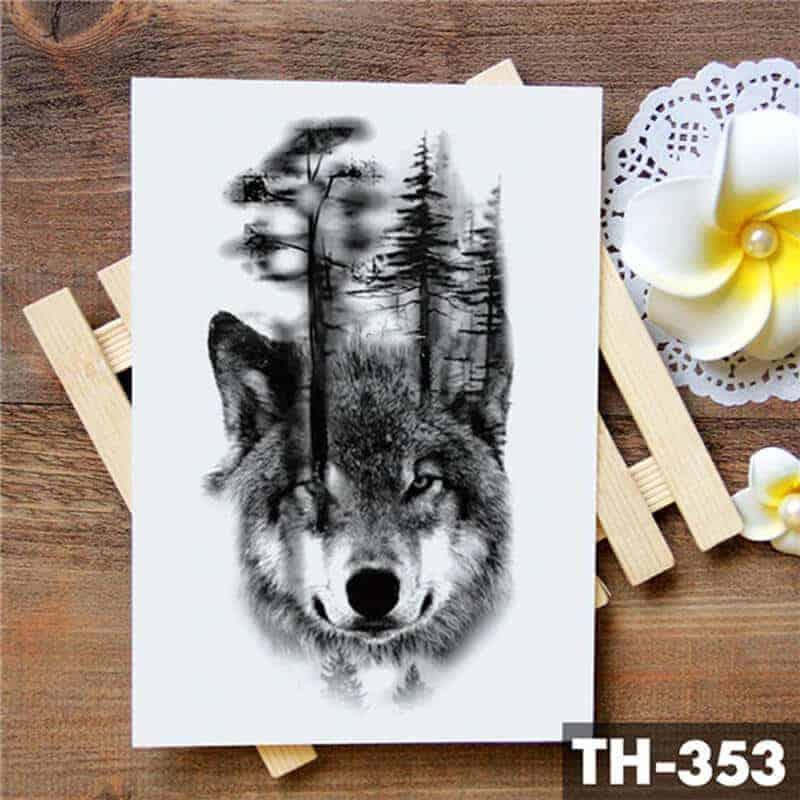 Volk začasna tetovaža