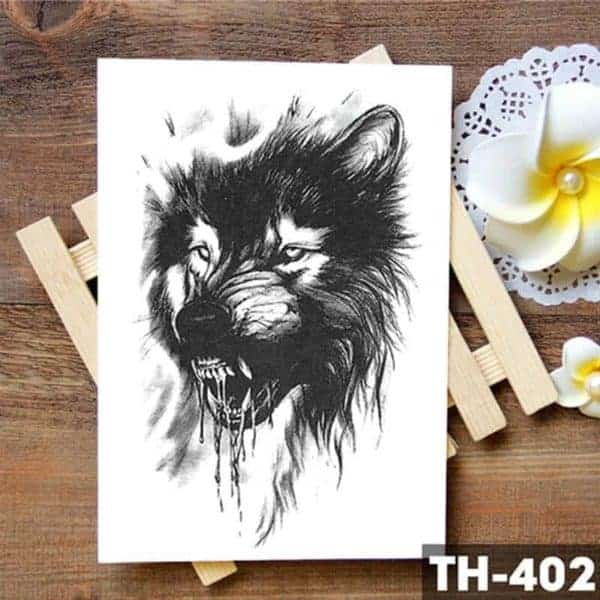 Začasni tattoo agresivni volk