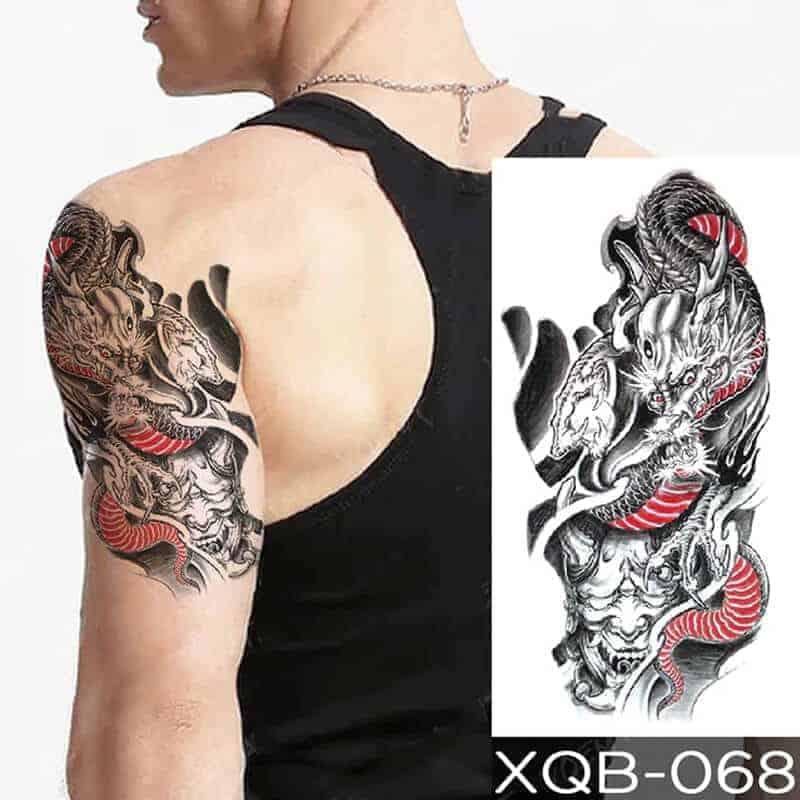 Začasni tattoo barvni zmaj
