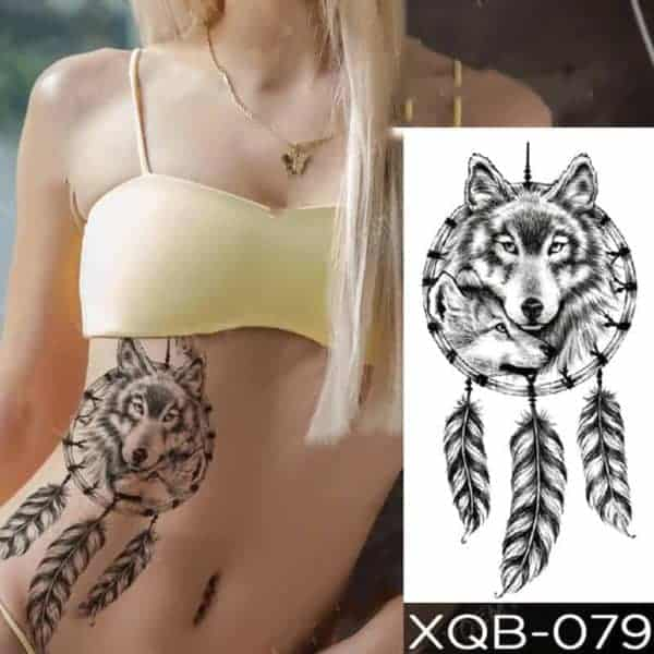 Začasni tattoo indijanski volk