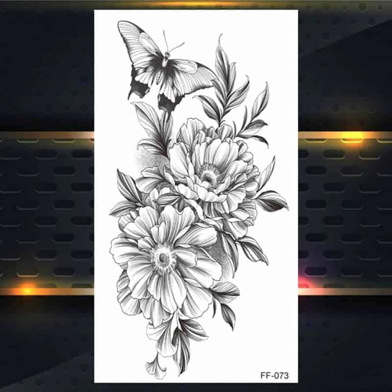 Začasni tattoo metulj in vrtnica
