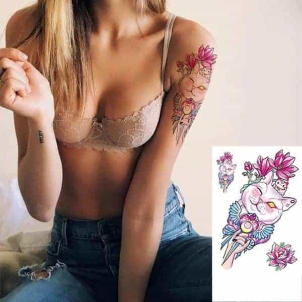Začasni tattoo muca in cvetovi